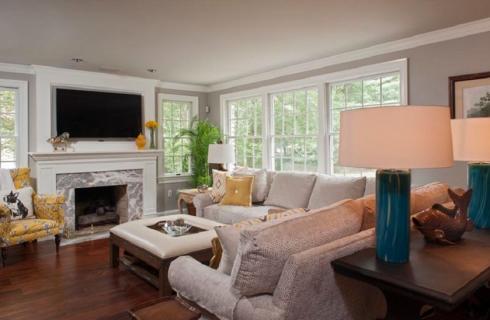 Transitional Living & Family Room Interior Design